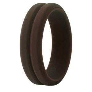 Brown Grooved Silicone Ring