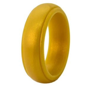 Gold Bevelled Silicone Ring
