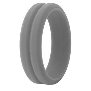 Grey Grooved Silicone Ring