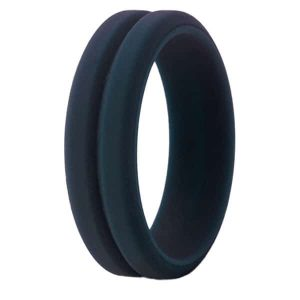 Navy Grooved Silicone Ring