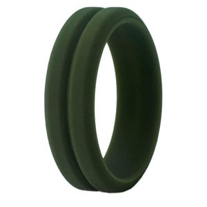 Olive Grooved Silicone Ring