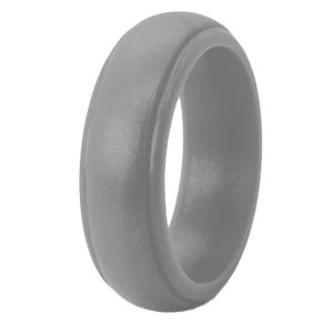 Silver Bevelled Silicone Ring